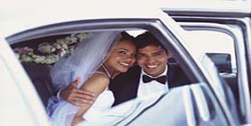 Bridal Couple in limousine