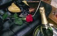 Interior limo wine and roses