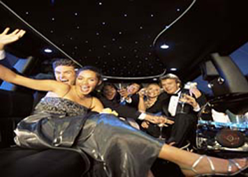 People interior limo night on the town