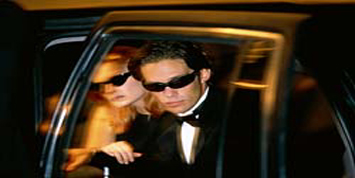 Couple, exiting limo, prom